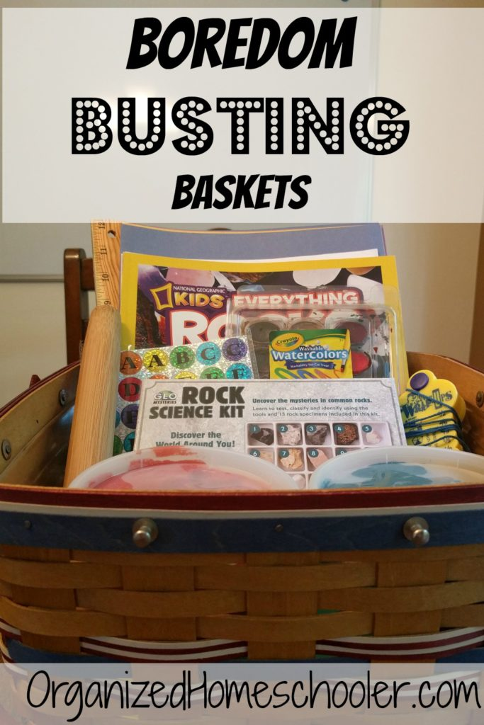 Boredom busting baskets are a great way to entertain kids all summer long! You can easily adjust it for any age or skill level. You can even tie it in to your homeschool curriculum!