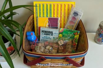 Boredom busting basket full of educational toys