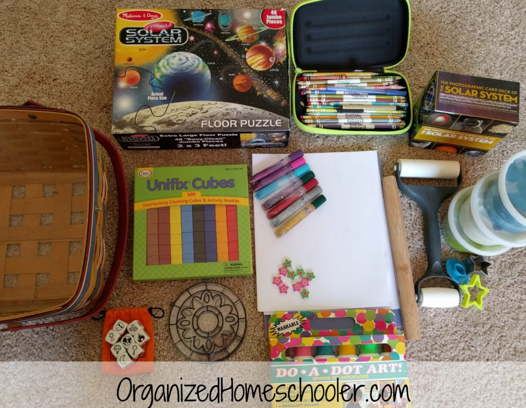 Boredom buster baskets are a great way to keep kids learning over the summer. They can be adjusted for any age and any theme.