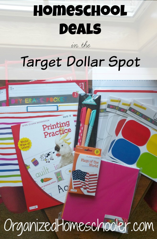 The Target Dollar Spot has fantastic deals for homeschool families! They have educational supplies, games, and organizational items!