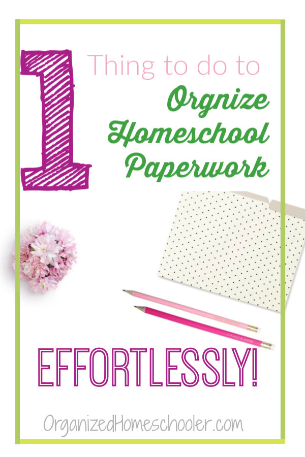 This 1 simple organizational hack will help you effortlessly organize homeschool paperwork and records. CLICK to read how to organize your homeschool papers with minimal supplies. This tip even works in a small space!