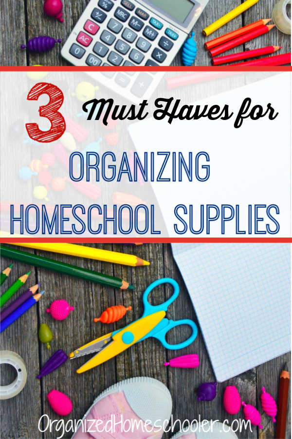 These 3 items are the most important supplies to organize all of your homeschool supplies - books, games, manipulatives, etc. The tips work for small spaces without much storage space. Become a pro at organizing homeschool supplies