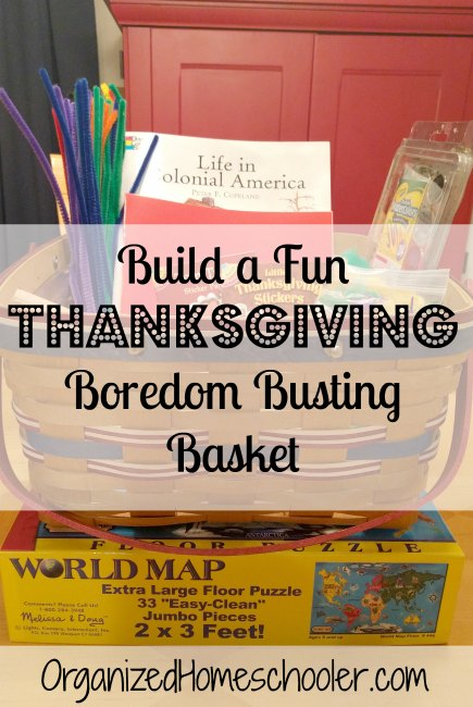 A Thanksgiving boredom basket is a great way to keep kids entertained while you prepare for the holidays.