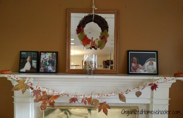 Thanksgiving poetry tea time is a fun way to get celebrate Thanksgiving! This fall leaf garland is a simple decoration.