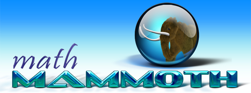 The Math Mammoth review begins with the logo which includes a wooly mammoth.