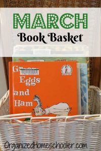 This basket full of March books for kids includes fantastic themes. Read books about Dr. Seuss, St Patrick's Day, and spring.