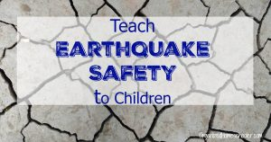 "Broken dirt after an earthquake with words ""Teach Earthquake Safety to Children"""