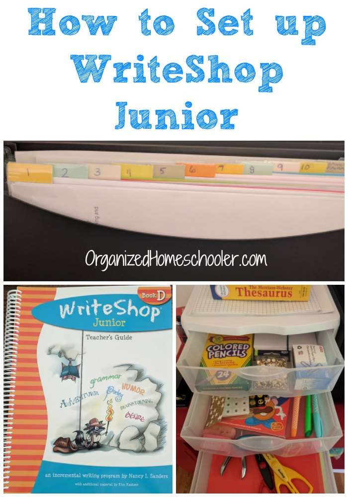 Simple ways to organize your WriteShop Junior curriculum. This homeschool writing center can be used for ALL writing curriculums!