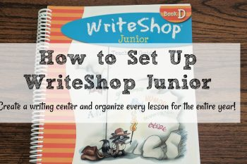 Just a few simple simple tools will organize your WriteShop Junior homeschool writing curriculum. This homeschool writing center can be used with every homeschool writing curriculum. Organize your WriteShop Junior homeschool writing curriculum lessons for the entire year! Do this in the summer to save lesson planning time during the school year.