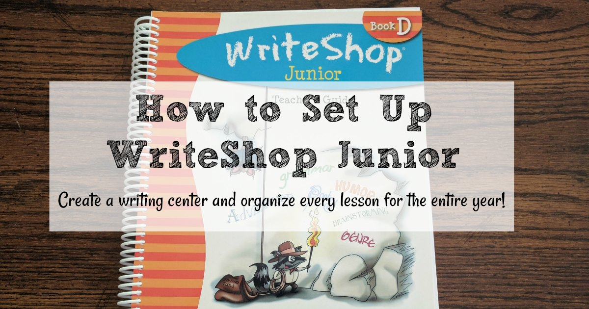 Simple ways to organize your WriteShop Junior curriculum. This homeschool writing center can be used with every homeschool writing curriculum.