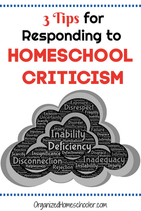 Figure out the best response to homeschool criticism. If you are a homeschool mom, you have probably faced judgement for your choice. How you respond depends on a few factors.