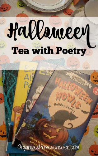 Tea with poetry is a great way to celebrate Halloween while still practicing literacy skills. #teawithpoetry #kidspoems #halloweenpoems #halloween