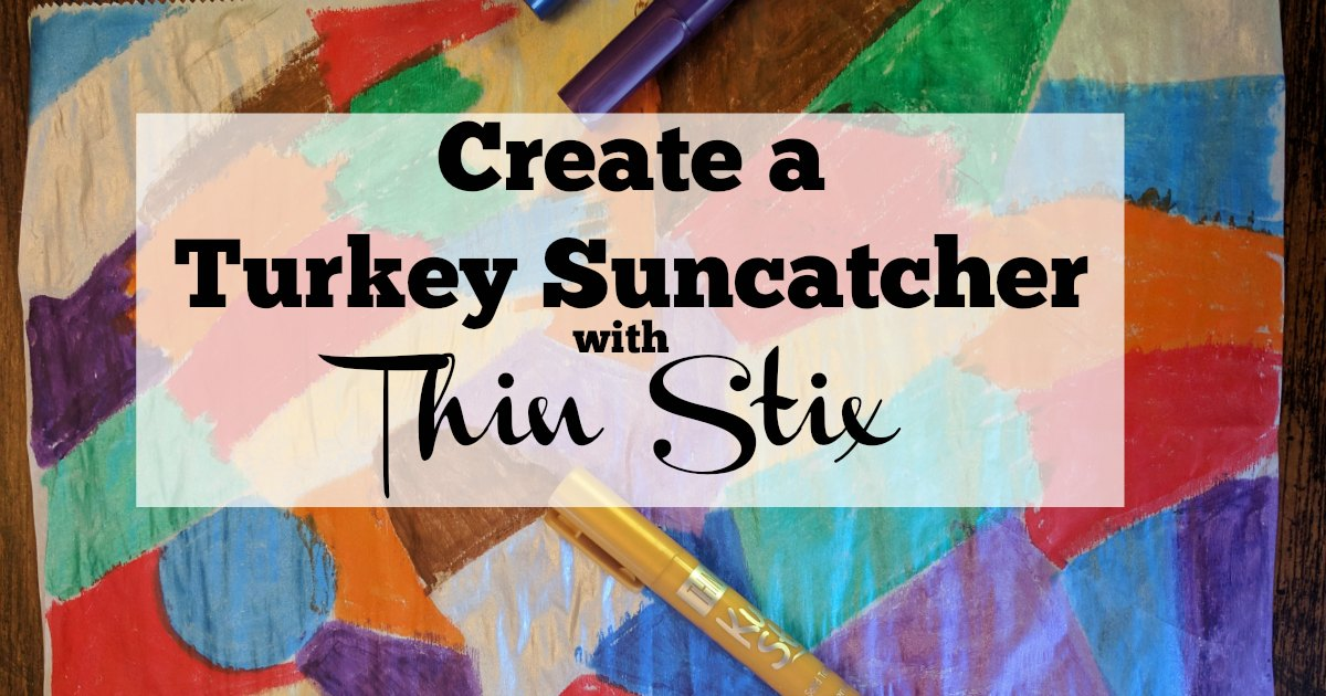 The Thin Stix Creativity Pack helps kids create mess free painting. Use them to create a turkey suncatcher! #kidfriendly #Thanksgiving #Thanksgivingcraft