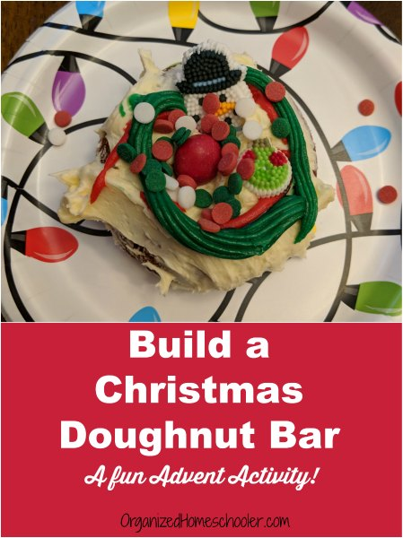 This Christmas doughnut bar is a great addition to any Advent calendar! #Christmas #Advent #AdventActivity #Doughnuts
