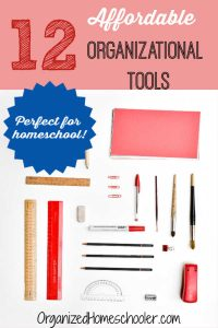 These homeschool organizational tools are simple and affordable. These supplies can make all the difference in setting up simple routines to get organized.