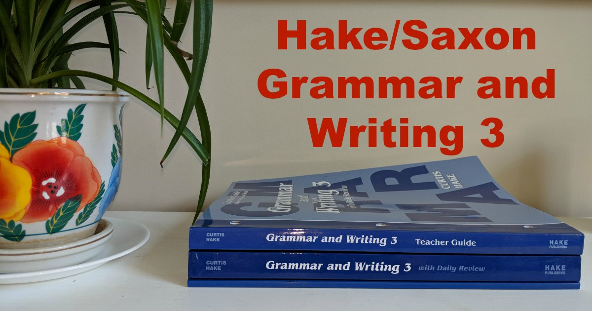 Hake Publishing Grammar and writing textbook, workbook, and teacher guide stacked.