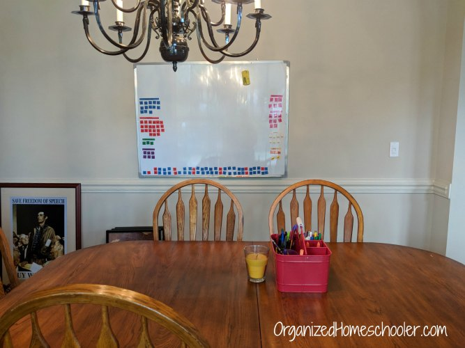 Dining room table with a white board and spelling curriculum