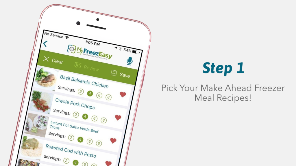Phone showing the first step in MyFreezEasy, the easy way to stock the freezer