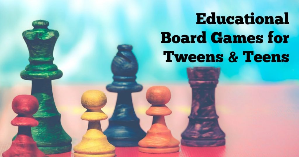 Educational board games for tweens pieces lined up