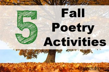 Fall poetry activities written across a white banner in front of a tree covered in gold colored leaves.