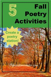 These fall poetry activities for kids are perfect for creating a poetry station or poetry center. Download a free list of fall words to create DIY poetry magnets.