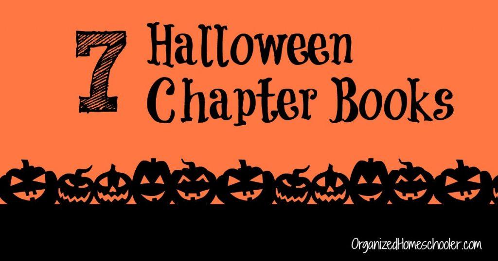 Halloween Chapter Books written on an orange background surrounded by jackolanterns