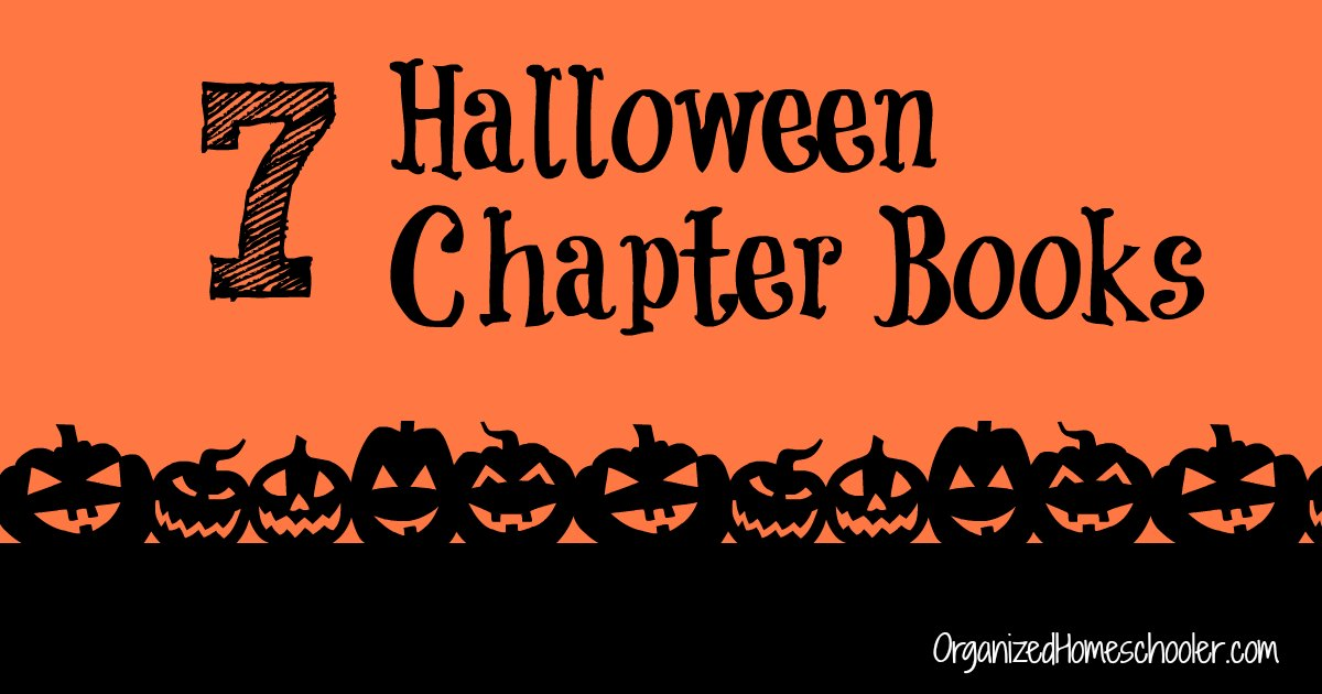 Halloween Chapter Books written on an orange background surrounded by jackolanterns