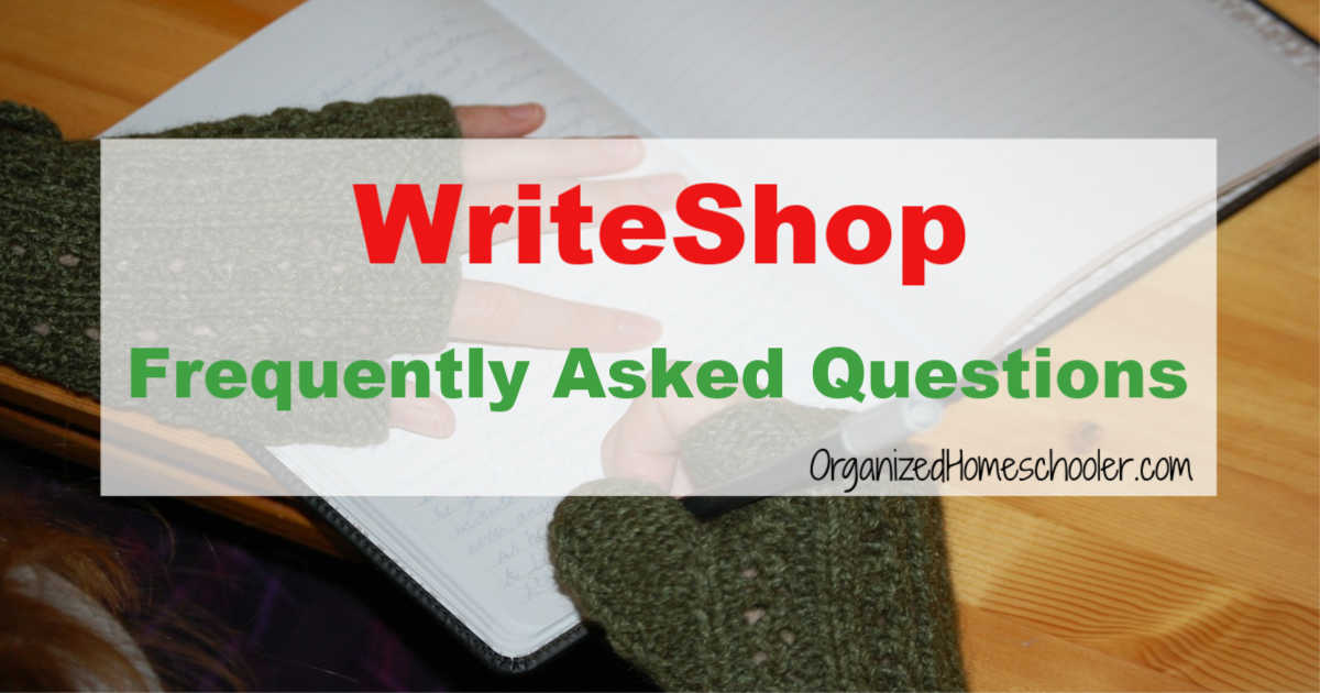 WriteShop Frquently Asked Questions written across a girl writing in a notebook