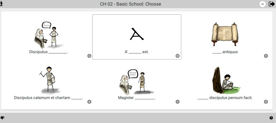 screen shot of Picta dicta choose section of lesson