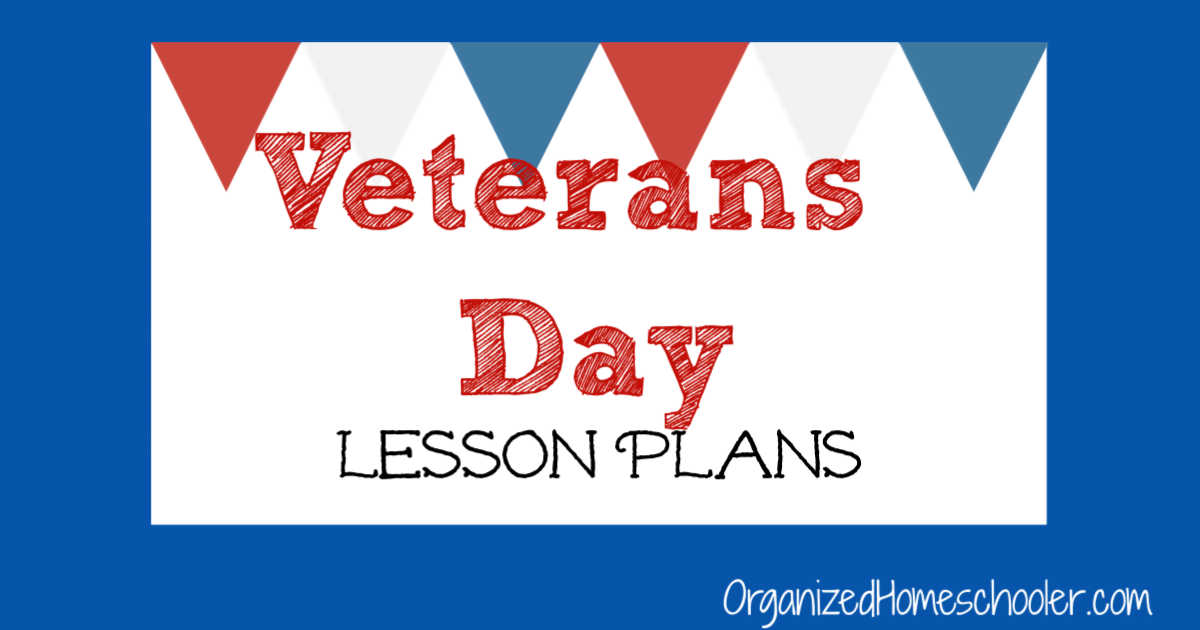 Veterans Day Lesson Plans written below red white and blue banner