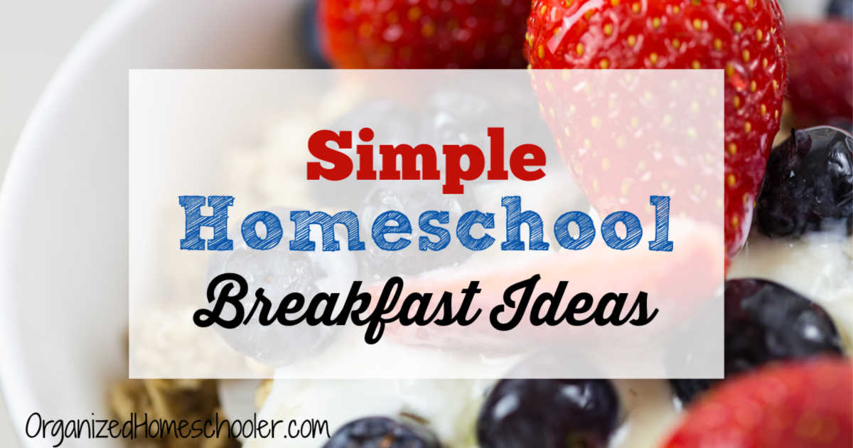 Simple homeschool breakfast ideas written over top a bowl of mixed berries