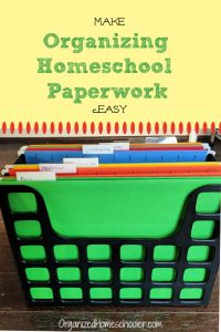 Make organizing homeschool paperwork easy with this one simple organization hack. #organizedhomeschooler #homeschool #homeschoolorganization
