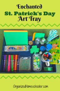 This enchanted St. Patrick's Day art tray inspires open-ended hands-on craft projects for kids.