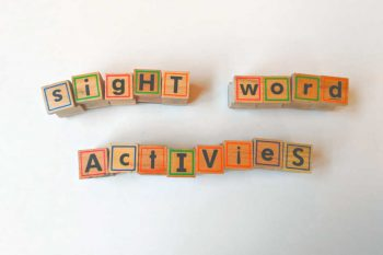 Sight word activities spelled with alphabet stamps
