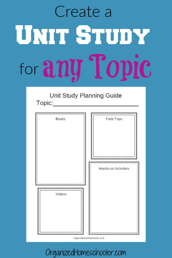 Unit studies are a great way to homeschool. This free printable unit study planning guide works for any curriculum and grade!