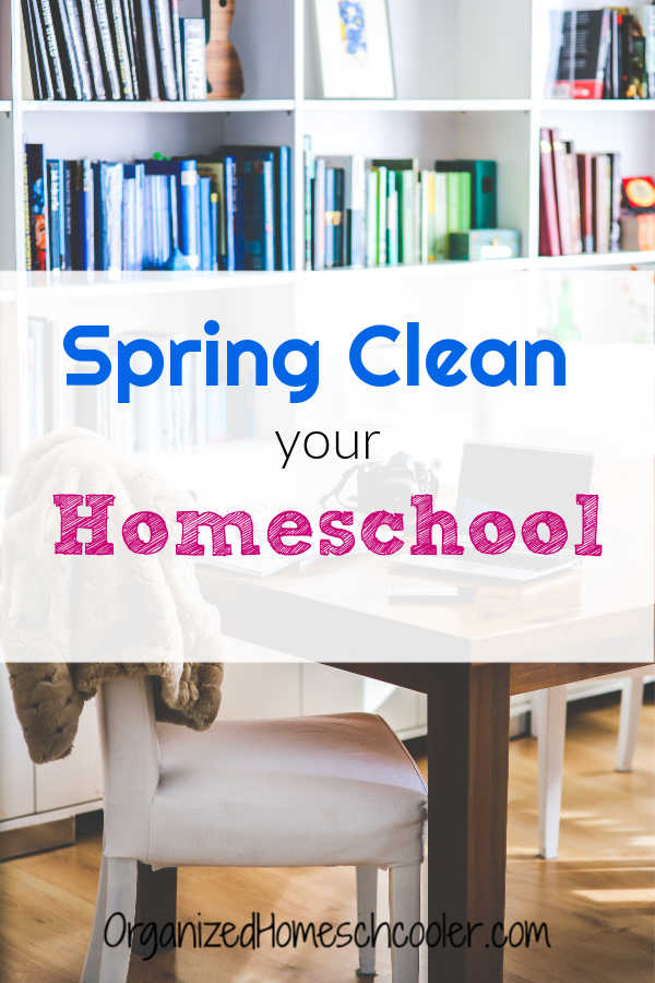 Spring clean your homeschool with these tips. Take this opportunity to declutter and organize homeschool supplies and curriculum.