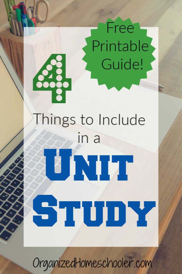 Get a free unit study planning guide printable. This guide works for any curriculum or grade level.