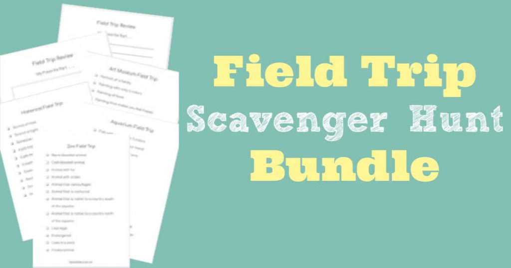 Stack of field trip scavenger hunts next to field trip scavenger hunt bundle wording.