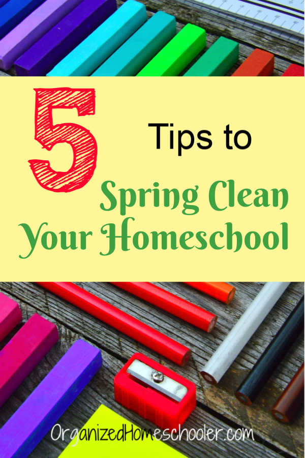 Check out these tips to spring clean your homeschool. Get your homeschool organized and decluttered in no time!