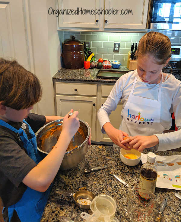 Teaching kids to cook with Harlow's Harvest. My kids are mixing up a batch of homemade biscotti.