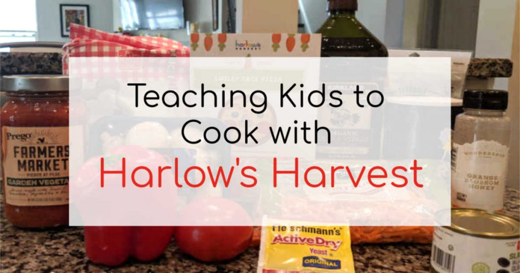 Teaching kids to cook with Harlow's Harvest written on a white banner in front of a collection of groceries.