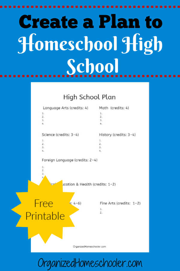 Print this free guide to create a custom homeschooling high school plan.