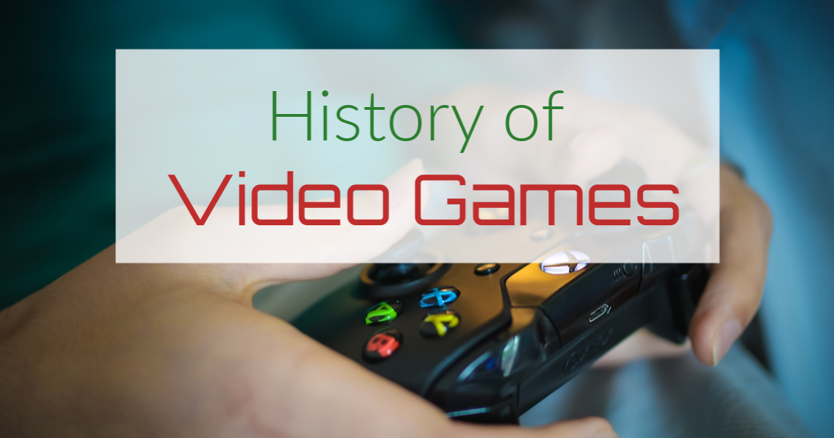 History of video games written on top of a game controller
