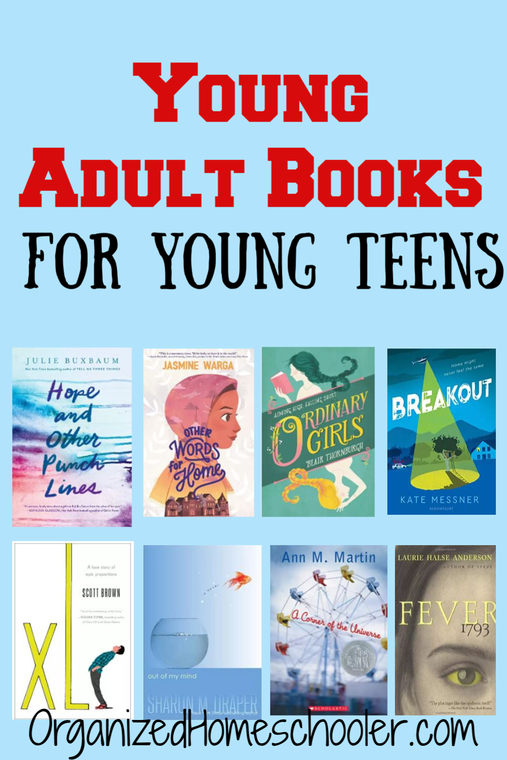 This list of young adult books is a great reading list for young teens. It makes a great homeschool reading list for middle school and high school.