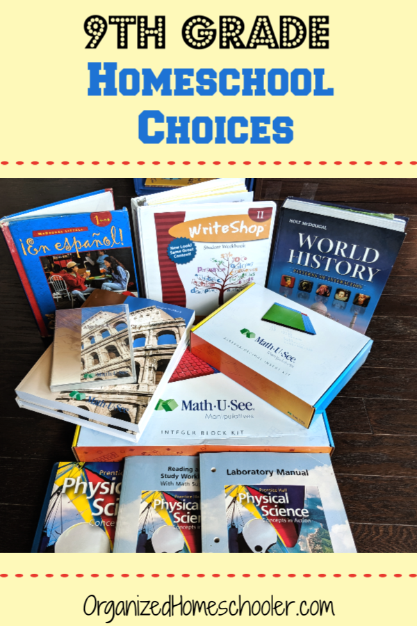 These 9th grade homeschool curriculum picks are a great choice for students that are beginning to work a bit more independently. Check out what we are using to teach language arts, math, science, history, and electives.