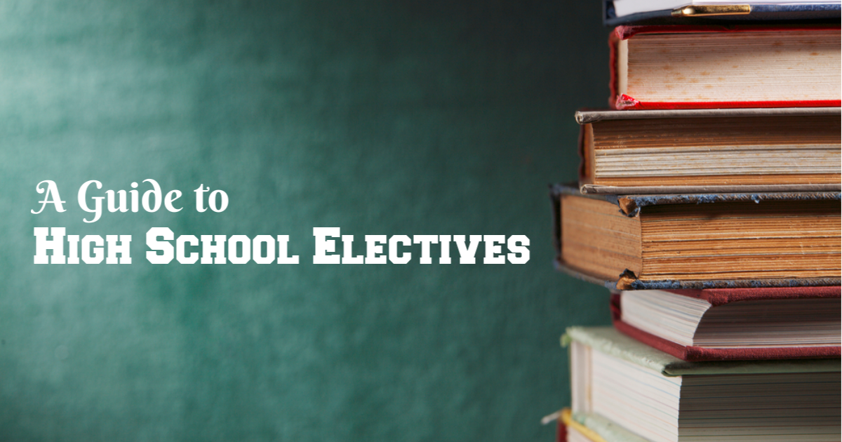 A guide to high school electives written next to a stack of textbooks.
