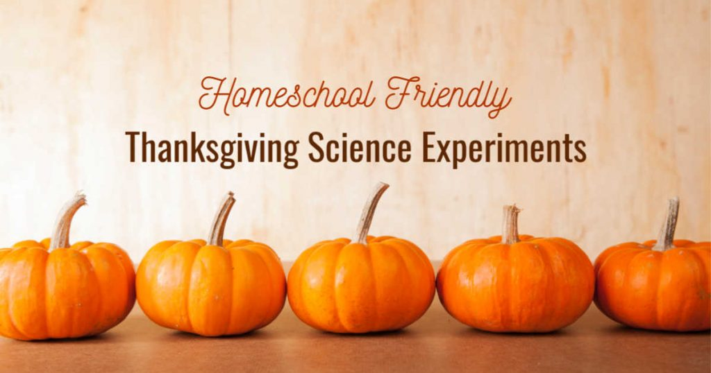 Homeschool friendly Thanksgiving science experiments written over a row of mini pumpkins