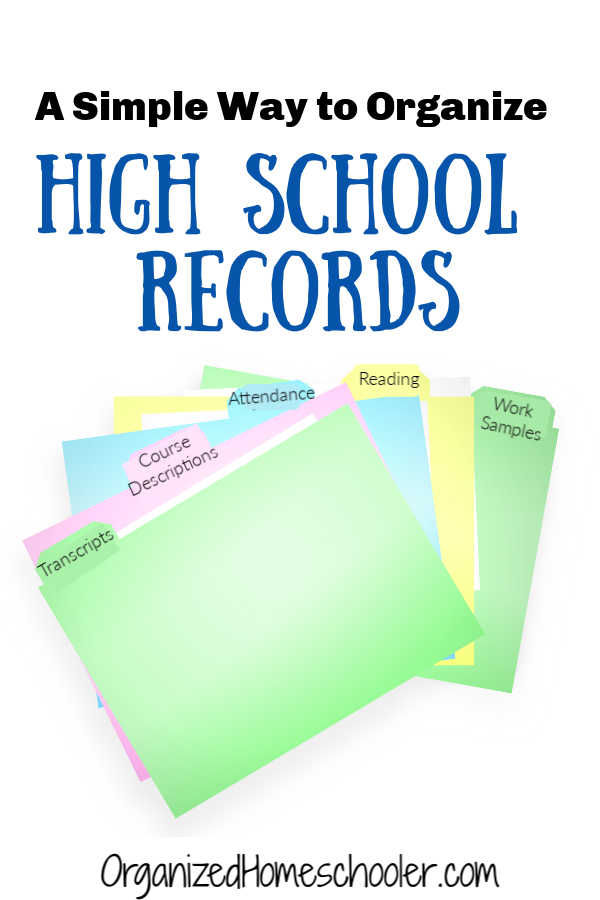 Organizing high school records doesn't have to be complicated. Find out what you need to keep to help your homeschooler go to college. #homeschool #highschool #homeschoolorganization #organizedhomeschooler